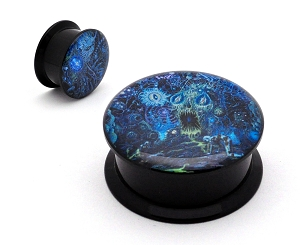 Black Acrylic Rings of Saturn Dingir Picture Plugs