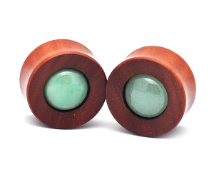 Saba Wood Concave Plugs with Green Aventurine Stone