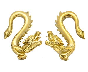 Pair of Chinese Dragon Brass Weights