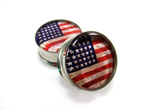 American Flag Picture Plugs
