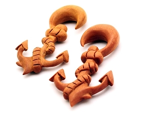 Sawo Wood Anchor Ear Hooks