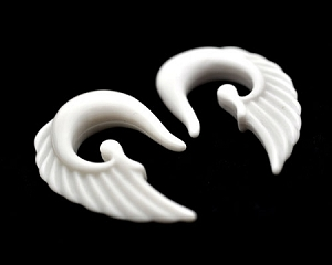 White Acrylic Angel Wing Ear Hooks