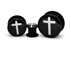 Black Acrylic Cross Style 1 Picture Plugs