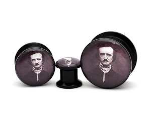Black Acrylic Edgar Allen Poe Picture Plugs