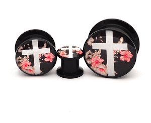 Black Acrylic Vintage Floral Cross Picture Plugs