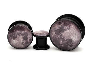 Black Acrylic Full Moon Picture Plugs