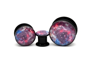 Black Acrylic Galaxy Picture Plugs