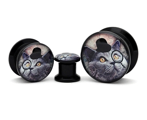 Black Acrylic Gentleman Kitty Picture Plugs