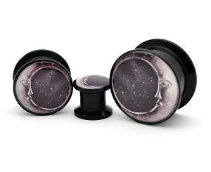 Black Acrylic Moon Style 2 Picture Plugs