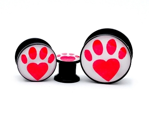 Black Acrylic Paw Print Heart Picture Plugs