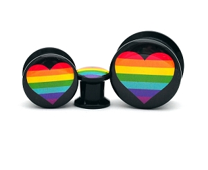 Black Acrylic Rainbow Heart Picture Plugs