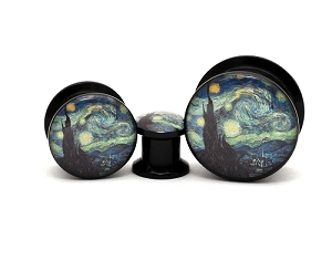 Black Acrylic Starry Night Picture Plugs