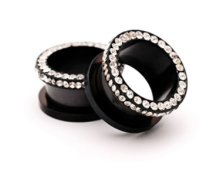 Black Stainless Steel CZ Screw on Tunnels Style 2