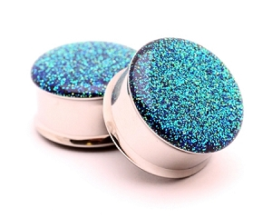 Blue to Green Color Changing Glitter Resin Plugs