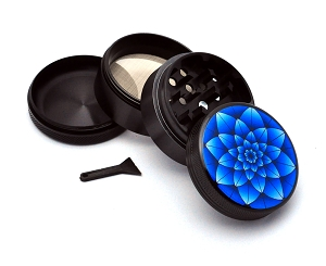 Aluminum Alloy 5-piece Blue Lotus Picture Grinder