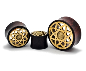 Sono Wood Plugs with Brass Lotus