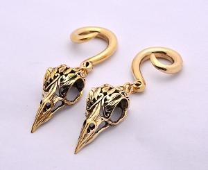 Pair of Dangling Bird Skull Brass Ear Weights