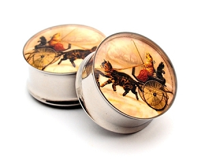 Vintage Cats in a Carriage Picture Plugs