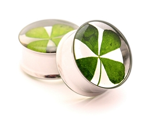 Embedded REAL 4 Leaf Clover Resin Plugs