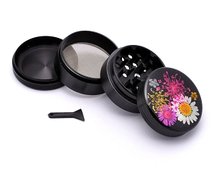 Aluminum Alloy 5-piece REAL Embedded Flowers Grinder