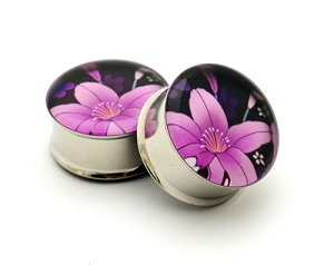 *CLOSEOUT* Japanese Flower Picture Plugs STYLE #8