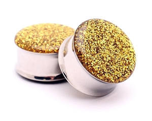 Embedded Gold Glitter Plugs