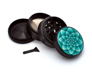 Aluminum Alloy 5-piece Green Lotus Picture Grinder