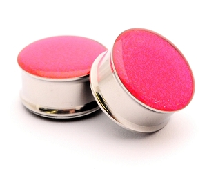 Embedded Holographic Pink Glitter Plugs