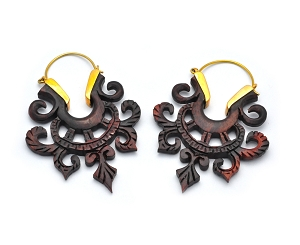 Brass Hoop Earrings with Sono Wood Floral Design