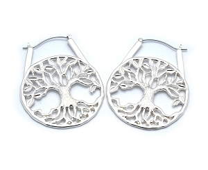 Hoop Earrings with Tree of Life