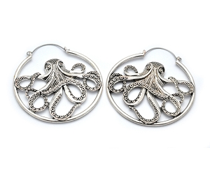 Hoop Earrings with Antique Silver Octopus
