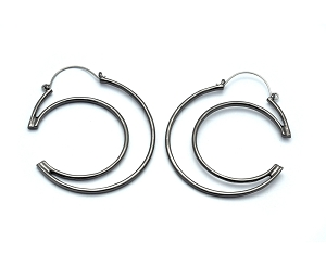 Hoop Earrings with Cutout Moon