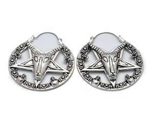 Hoop Earrings with Baphomet Pentagram