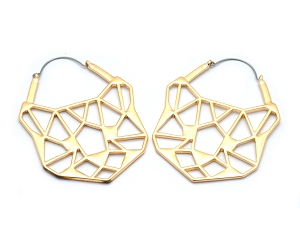 Hoop Earrings with Gold Plated Cat Cutout