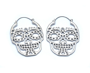Hoop Earrings with Cutout Sugar Skull