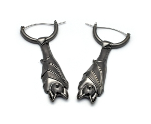 Hoop Earrings with Hanging Bats