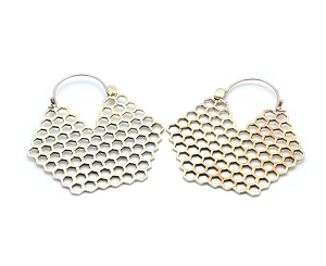 Brass Hoop Earrings with Bee Hive Design
