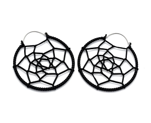 Hoop Earrings with Black Woven Web