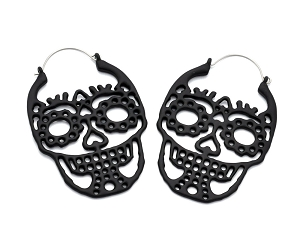 Hoop Earrings with Black Sugar Skull