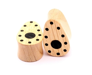Maple with Areng Inlays Teardrop Wood Plugs