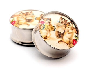Vintage Musical Cats Picture Plugs