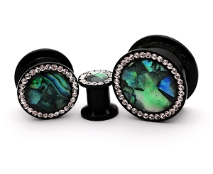 Black Acrylic Screw Plug with Abalone and CZ