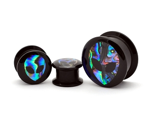 Black Acrylic Embedded Abalone ALIEN Plugs