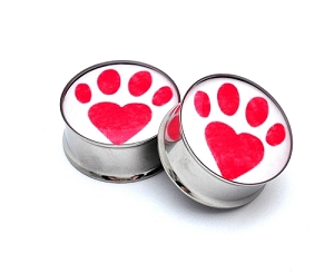 Paw Print Heart Picture Plugs