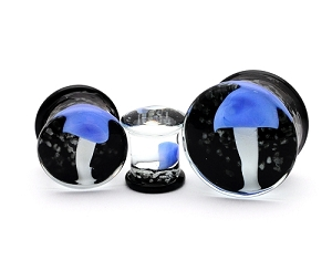 Glass Double Flare Plugs with Blue and White Mushroom