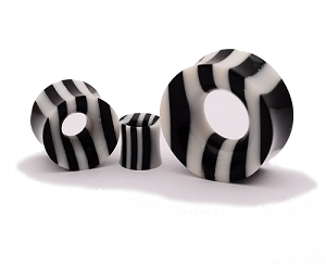 Striped Horn and Bone Double Flare Tunnels