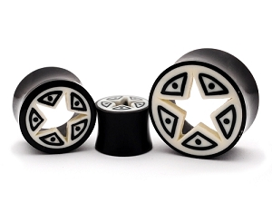 Horn Tunnels with Cut out Star Bone Inlay
