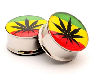 Pot Leaf Style 3 Picture Plugs