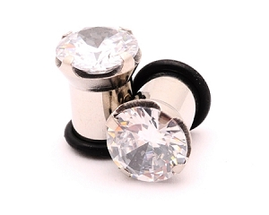 Stainless Steel Prong Set CZ Single Flare Plugs