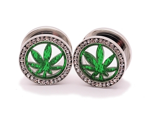 316L Surgical Steel Pot Leaf CZ Screw on Tunnels